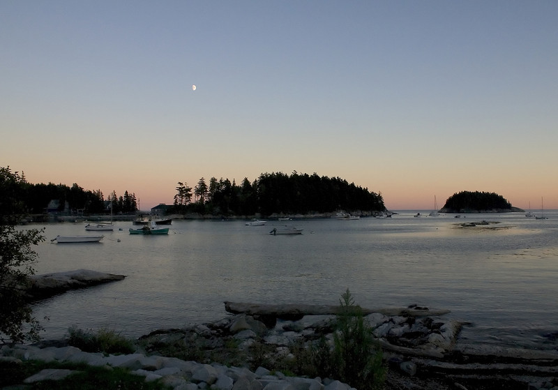 Sunset ends in a sleepy harbor on the Maine coast