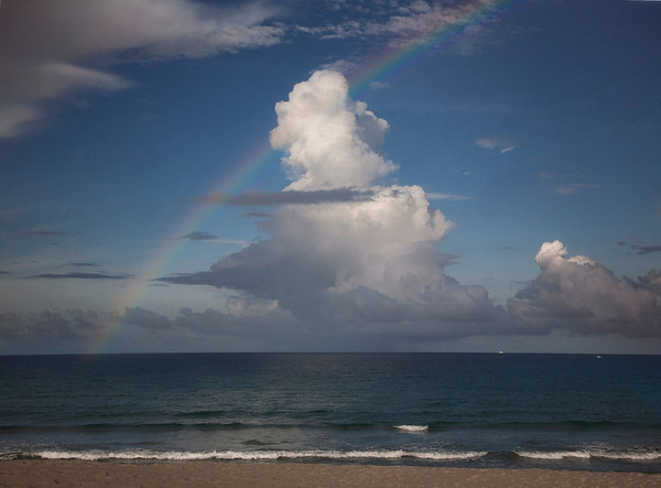 Red Reef Beach, Boca Raton, Rainbow over the sea, east coast, Florida,late afternoon,