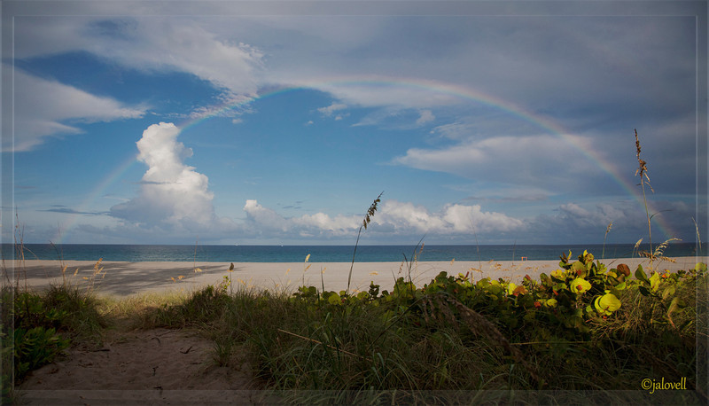 Full Rainbow with hint of double rainbow off the Boca Raton Red Reef Beach area - shooting from beneath some seagrape trees through misty rain with glorious late day sun streaming from the west.