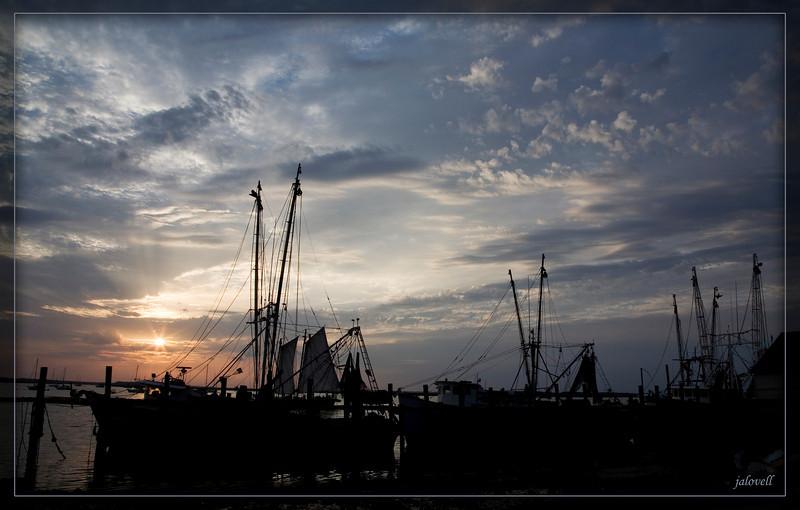 Fernandina Marina Shrimpboats at Sunset, Amelia Island, FL