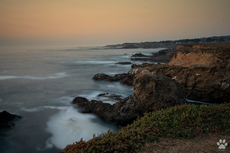 Point Cabrillo cliff view at sunset