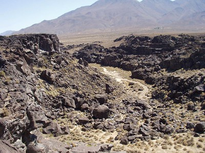 Fossil Falls, 3 July 2002. Taken with a borrowed camera.