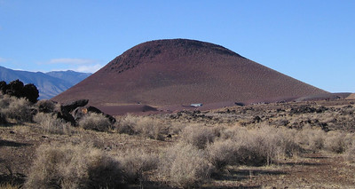 Fossil Falls, 1 March 2007.  Red Hill, a cinder cone just north of the falls.