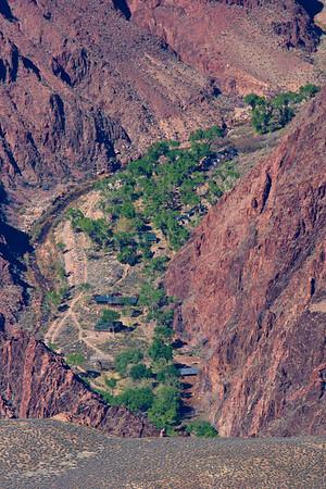 Phantom Ranch at the bottom of the canyon.