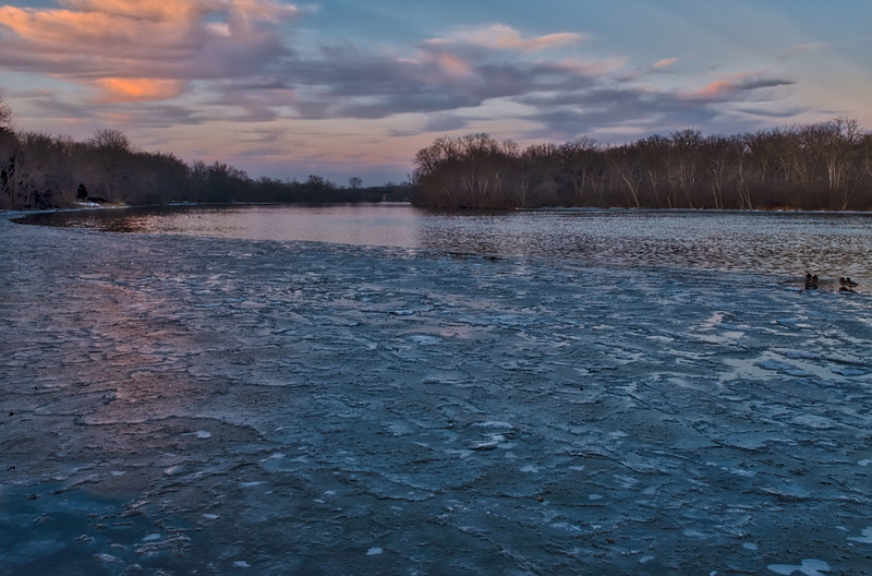 January Ice During the Blue Hour, Fox River at Fabyan Forest Preserve, Geneva, IL