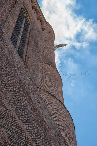 Gargoyles and brickwork on Albi cathedral