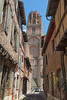 Albi cathedral taken from Rue du Castelviel on a summers day