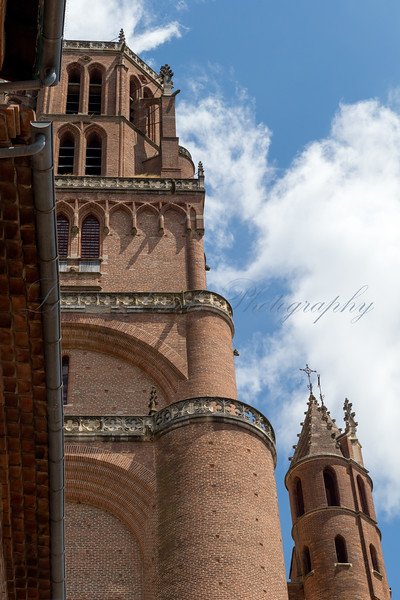 Albi Cathedral bell tower taken from Rue du Castelviel on a July day