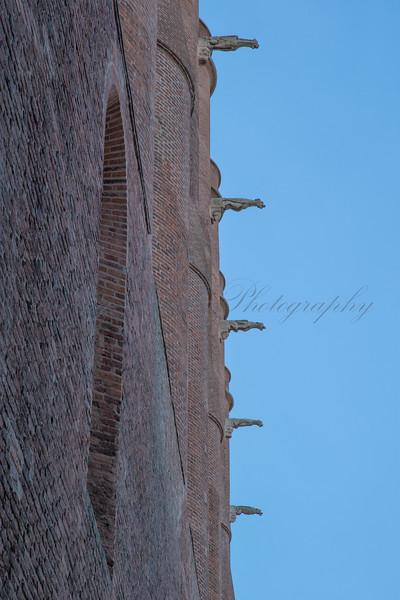 Gargoyles and brickwork on Albi cathedral