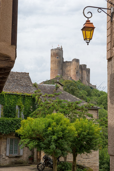 A summer's day in the bastide of Najac with Najac castle in the background