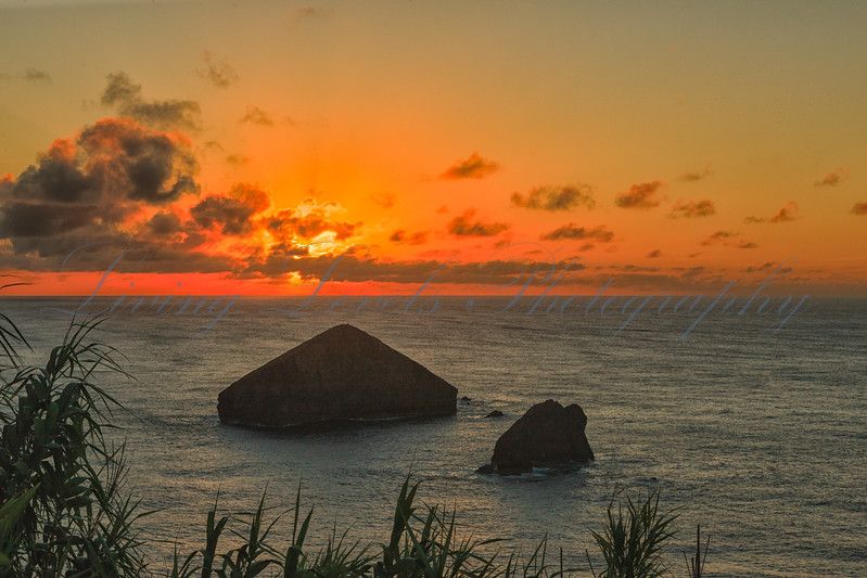 Sunset over volcanic remains, Mosteiros, Sao Miguel Island in the Azores
