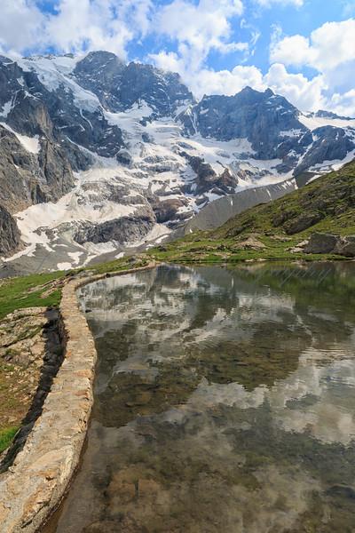 Lake and glaciers at La Meije, La Grave, Hautes-Alpes