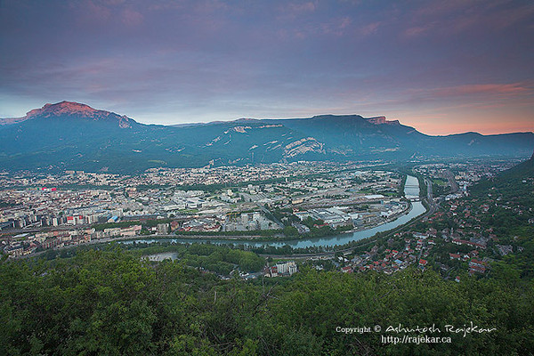Riviere d'Isère, Gare de Grenoble, Seyssins, Fontaine and Sassenage from La Bastille, Grenoble.