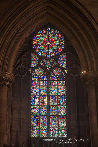 Stained glass in Notre dame de Strasbourg Cathedral