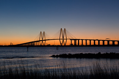 Sunset over the Fred Hartman Bridge at Baytown Texas