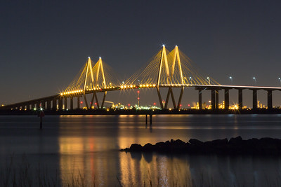 Nightfall at the Fred Hartman Bridge at Baytown Texas