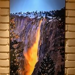 """24"""" x 36"""" HD Acrylic Crystal Image - Non-glare.  """"Nature's Firefalls"""" Horsetail Falls in Yosemite in Winter.  Excellent Condition.  Normally $1300.  SALE for $799.   10/10.   HD Acrylic Prints are prints between a sheet of crystal clear Acrylic and backed floating about a 1/2"""" off the wall.  These just glow on your walls.  Email me to purchase this sample print --- Yosemiteguy  @ jharrisonphoto.com"""