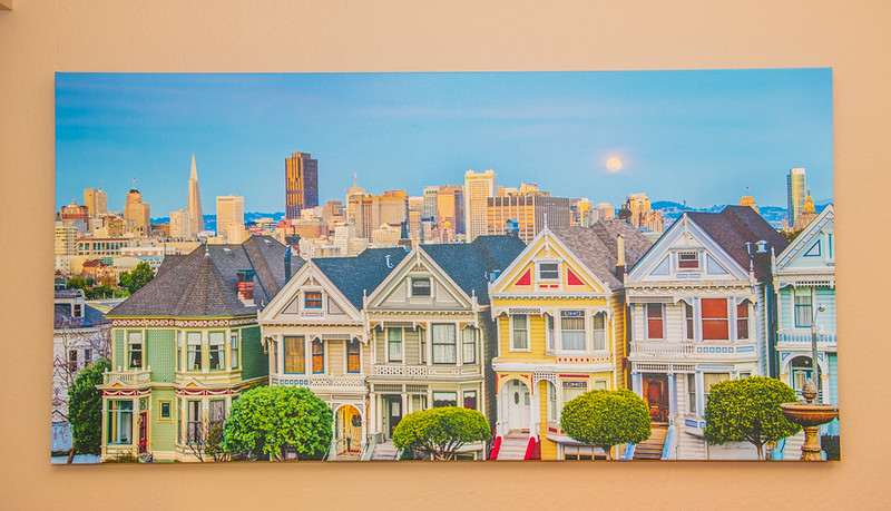 "SOLD!!   30"" x 60"" Gallery-wrapped Giclée of the 7 Painted Ladies at Sunset in San Francisco, California.  Normally $900.  SALE $400.  9.5/10 Condition"
