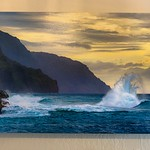 "SOLD!!   ""Tropical Waves in Kauai at Sunset""   20"" x 30"" Gallery-wrapped Canvas.  Normally $350.  SALE $150"