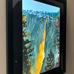 "Side View - 37"" x ""31"" Backlit Nature's Firefalls.  Black Wood Framed image with black mat, this image glows on the wall without lighting!  This backlit image is the perfect combination.   Normally $1800. SALE $399"