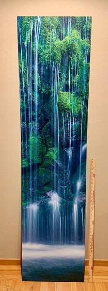 "SOLD!   72"" x 18"" Waterfall image on Plexiglass.  Sale $49. Would need to lean up against the wall or hang on the two small holes at the top"