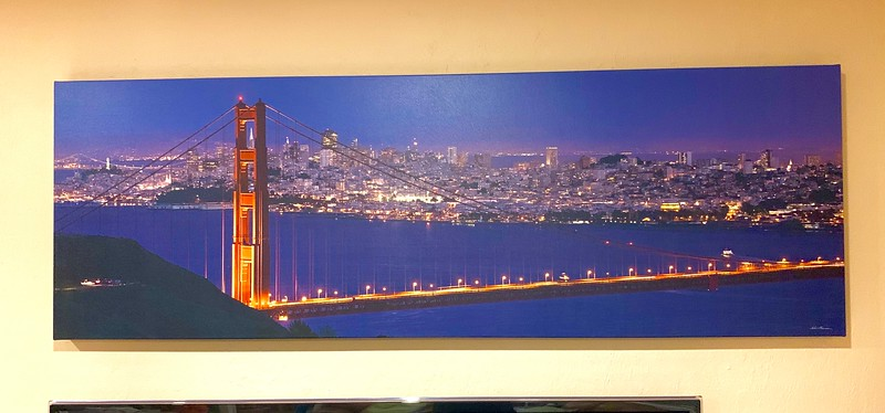 "24"" x 72"" Gallery Wrapped Giclée ""Full Moon over the Golden Gate Bridge in the Marin Headlands""   9.5/10  Normally  $890.  SALE  $249"