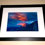 "12"" x 16"" ""Summer Sunset on Half Dome""  Wood Framed Print.  $49"