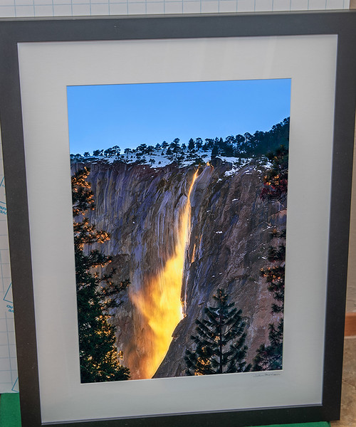 "SOLD!  20"" x26"" Black Wood Framed Nature's Firefalls.  Print is ~ 12"" x 18""   9/10 condition.  Normally $450.  SALE $199"
