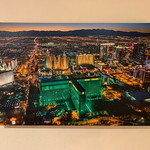 "SOLD!!  24"" x 36"" Gallery-wrapped canvas Giclée. ""Aerial View of Las Vegas MGM at Dusk""  Normally $550. SALE $25  Condition 5/10"