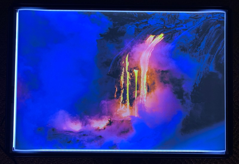 """24"""" x 36"""" Backlit """"Lava Flowing on the Big Island in Volcano National Park, Hawaii""""  Normally $1500 SALE $249"""