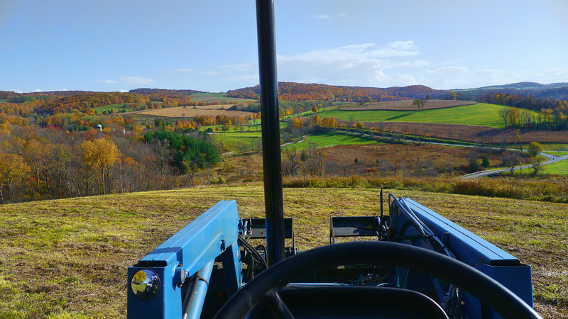 The Shekomeko Valley seen from the seat of my tractor while mowing. I hope this lets you understand why I think it's a spiritual experience to drive a tractor up here.