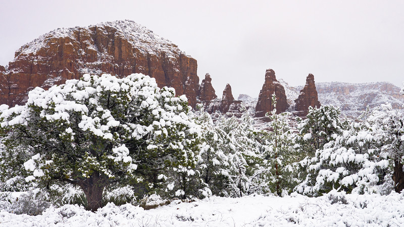 Red Rock Spires in Snow