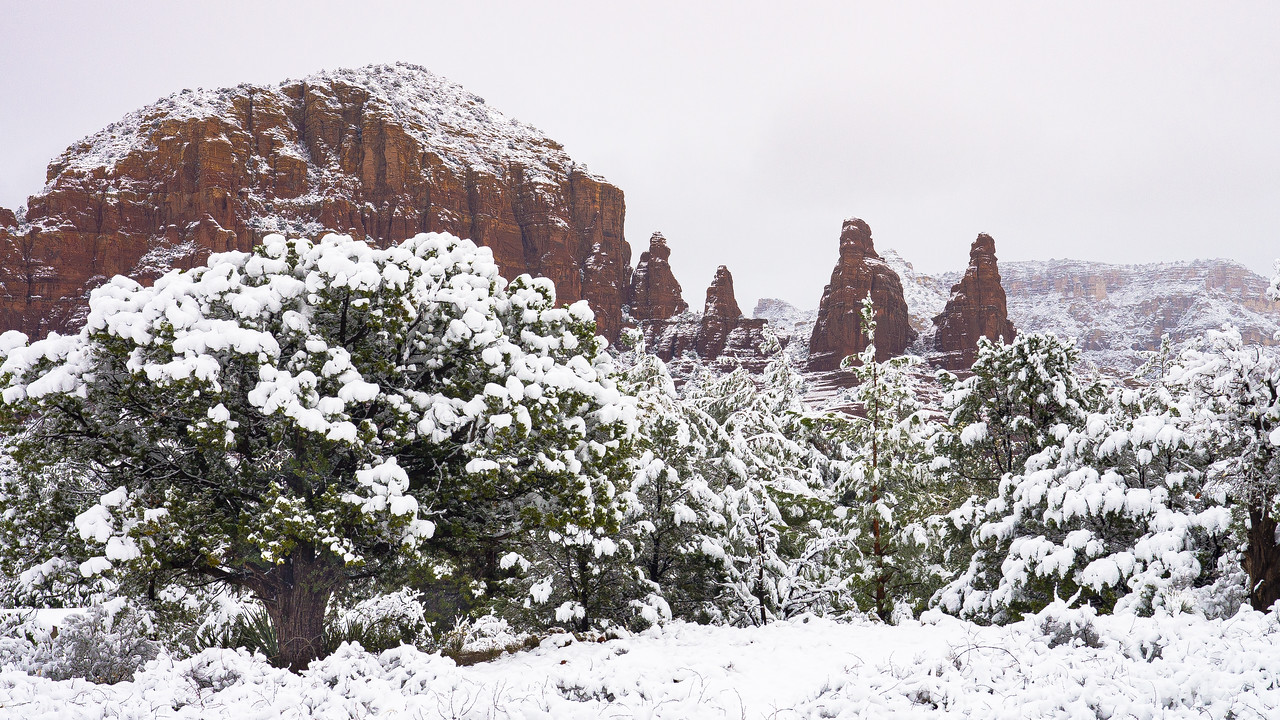 Snow on Red Rock Spires