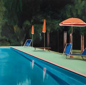 Pool Orange Umbrella
