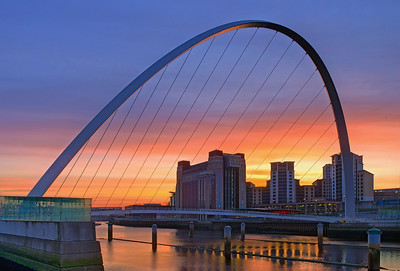 Dawn on the river Tyne, with a view of the Millenium Bridge and the Baltic