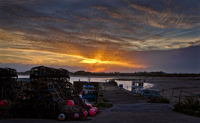 Sunset Beadnell harbour in Northumberland