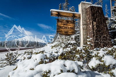 Snowy Mt. Bachelor welcome sign