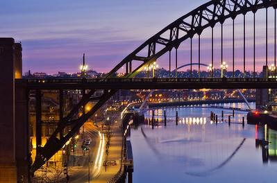 Pre-dawn Tyne bridges