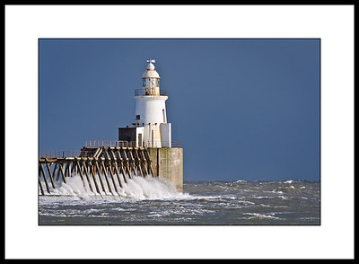 Blyth pier lighthouse at high tide