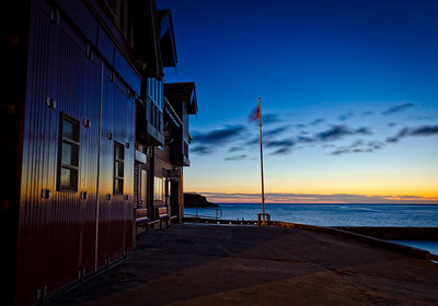 Dawn at Cullercoats lifeboat shed
