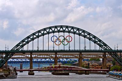 Tyne bridges during the 2012 Olympics