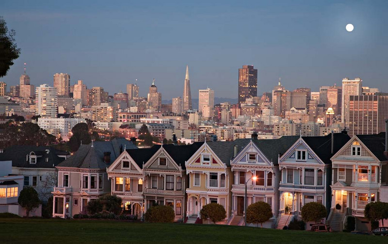 Moonrise in Alamo Square, San Francisco