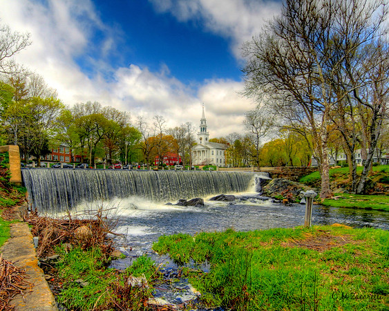 Waterfall with Church in Back Ground, Milford, CT.