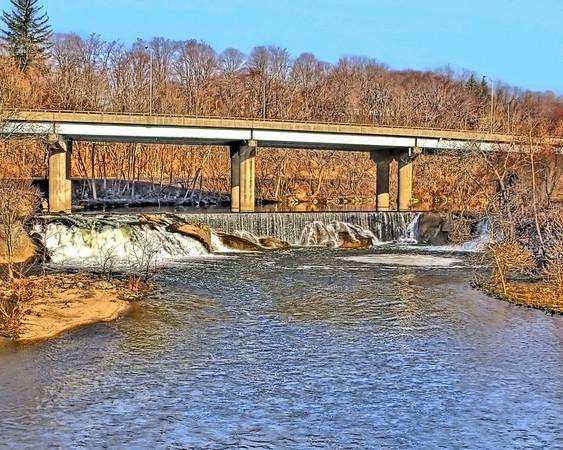 waterfall under rte 8 in Seymour ct