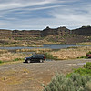 Angler parking area at Dry Falls Lake providing easy access for flyfishing float anglers to apply their skills on the catch and release programs at this historic and pleasant destination.