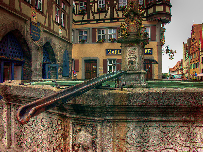 "Public fountain ""faucet"" in Rothenburg main square"