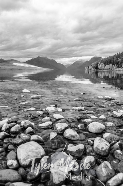1874  G Lake McDonald and Leaves BW V