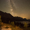 The Milky Way rises over St Mary lake in Glacier national park. In the bottom right of the picture you can see Wild Goose island
