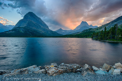 Final glow. Sunset at swift current lake, Glacier national park.