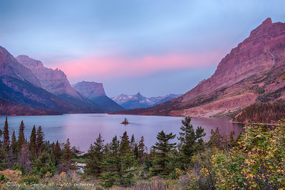 Early morning aspen glow at St. Mary lake, Glacier National park